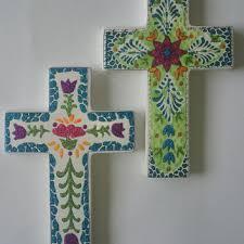 ceramic cross holy wall cross religious art flower cross mexi on religious wall art crosses with shop religious wall crosses on wanelo