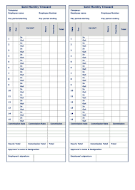 Semi Monthly Timecard Template Two Per Page Printable Pdf