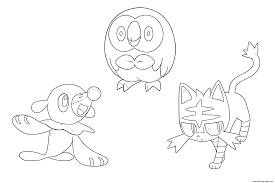 Pokemon Sun Moon Starters Coloring Pages Printable