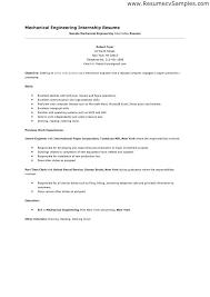 Mechanical Engineer Internship Resume Good Objective For Engineering
