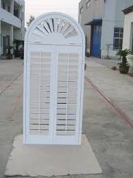 White Arch Indoor Window Shutters Z Frames For Houses Decorative