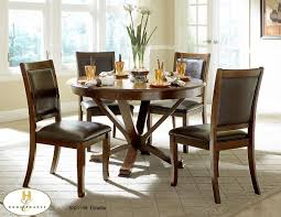 with a deep cherry finish and clean transitional lines the 48 inch round table top allows for placement in smaller dining setting