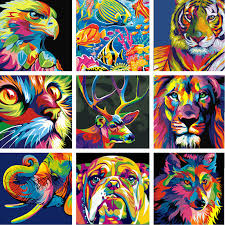 diy paint by number acrylic oil painting on linen colorful animals kids surprise