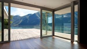 mountain view by opening aluminum sliding glass door