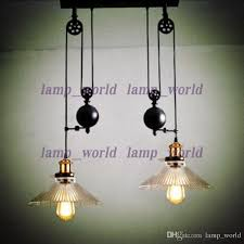pulley lighting. Up \u0026 Down Dining Room Vintage Pulley Lamp Kitchen Light Rise Fall Glass Shade Chandelier Industrial Lighting