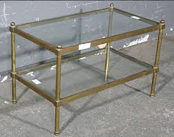 rare bagues tubular brass glass coffee table rare size for
