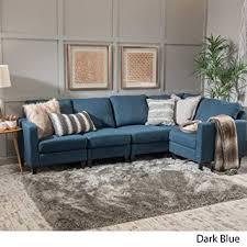 GDF Studio 300116 Carolina Dark Blue <b>Fabric</b> Sectional <b>Sofa</b>