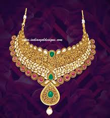 checkout beautiful kundan studded khazana bridal necklace 22k gold heavy bridal necklace studded with kundans ruby and emerald and with pearl drop