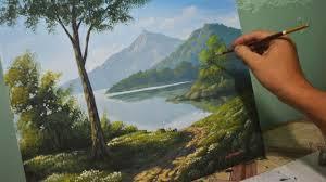 acrylic landscape painting lesson morning in lake by jmlisondra you
