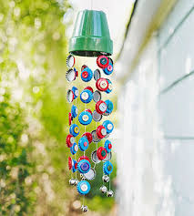 This fun wind chime can be seen in this month's Parents magazine and is  truly a beauty. It can be created from things you have left over around the  house.
