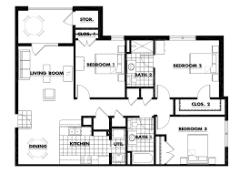... Three Bedroom Apartments Floor Plans For Decor Three Bedroom Floorplan  Square ...