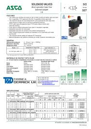 asco atex solenoid valves 327 series spec sheet