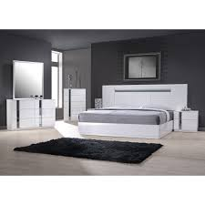 italian white furniture. palermo white lacquer on chrome 5 pc bedroom set bed nightstand dresser italian furniture