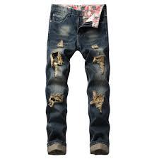 Where Can I Buy Designer Jeans For Cheap Fashion Designer Jeans Men Straight Dark Blue Color Hole Long Jeans Slim Stragiht Mens Pants Plus Size 40 42