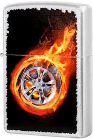 <b>205 Tire</b> on <b>Fire Зажигалка Zippo</b>, Satin Chrome