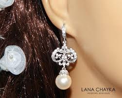 pearl chandelier bridal earrings swarovski 10mm pearl earrings ivory pearl cz silver dangle earrings vintage style pearl wedding earrings 35 90 usd