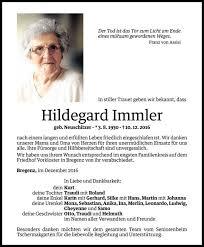 Todesanzeige Für Hildegard Immler Vom 21122016 Vn Todesanzeigen