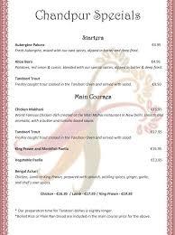 specials menu chandpur restaurant specials menu
