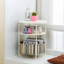 Book Design Side Table Us 58 27 25 Off Round Wooden Side Table 3 Tiers With A Book Storage Canvas Basket Bag In Coffee Tables From Furniture On Aliexpress