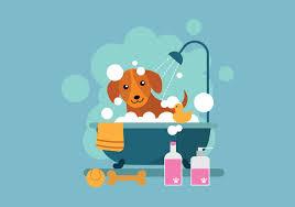 free cartoon dog taking a bath in bathtub ilration free vector art stock graphics images