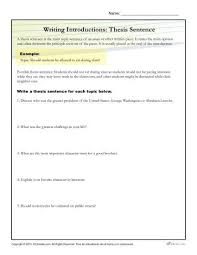 Thesis Statement For Education Essay How To Write A Thesis Statement Worksheet Activity Writing