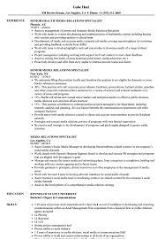 Social Media Specialist Resume Sample Media Relations Specialist Resume Samples Velvet Jobs 18