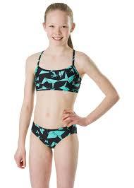Speedo Two Piece Size Chart Speedo Girls Akiracrane Allover Swim Bikini Black Aqua Splash