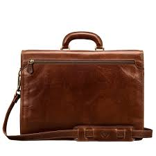 premium tan leather briefcase bag for men