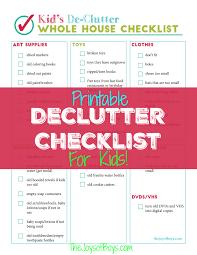 de clutter printable declutter checklist for kids clutter