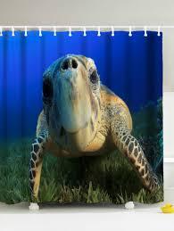 3d print sea turtle shower curtain with hooks deep blue 150 180cm