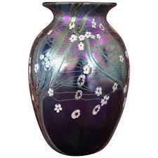 20th century germany art nouveau vase in glass with enamel decoration by orivit