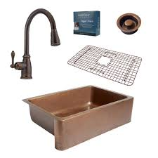 sinkology pfister all in one adams 33 in farmhouse copper kitchen sink combo