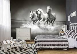 Paarden Fotobehang Zwartwit Muurdeco4kids