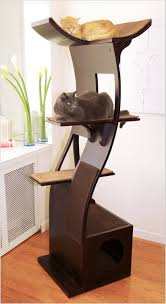 cat tree with modern curved design cool furniture tower designs sofa protect scratcher stop scratching carpet