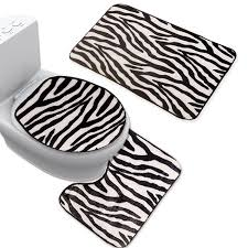Zebra Bathroom Rug Bathroom 2 Piece Set Zebra Pattern Slip Resistant Memory Foam Bath