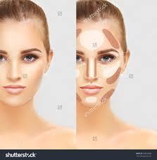 highlighting face makeup contouringmake up woman face contour and highlight makeup stock