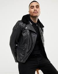 schott nyc men s lc enfield 2 leather biker jacket detachable faux fur collar slim fit