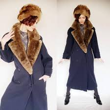 1980s perry ellis portfolio coat with sheared beaver fur collar 80s 90s minimalist navy blue