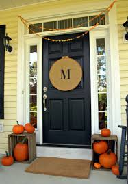 Decorations:Green Christmas Front Door Decoration With Wreath Ideas  Stunning Front Dor Decorating With Hallowen