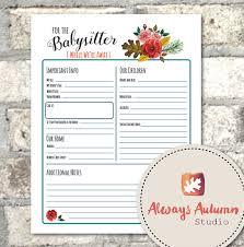 babysitter information sheet printable printable babysitter information sheet four seasons