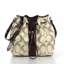 Coach Drawstring Medium Apricot Coffee Shoulder Bags FCA Clearance Outlet  Sale