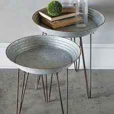 round galvanized metal tray table set