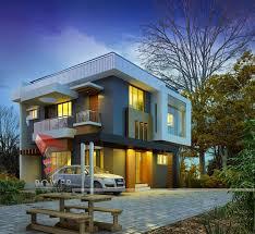 modern architectural house. 3D Exterior Bungalow Modern Architectural House A