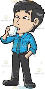 drinking coffee clipart. Beautiful Clipart An Asian Guy Drinking A Cup Of Coffee In Clipart