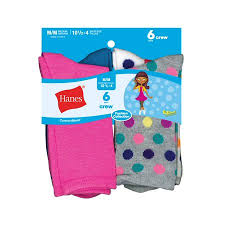 Hanes Girls Crew Socks 6 Pairs Big Girls