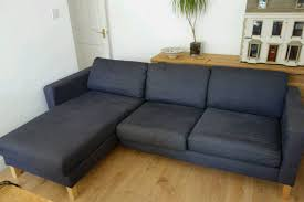 dark blue navy ikea karlstad modular 3 seater sofa with chaise lounge
