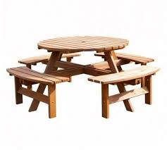 8 seater garden furniture set round table and 4 bench seats outdoor patio wooden for