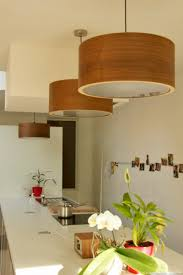 drum modern wooden pendant and