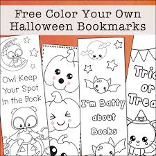 Here's a free printable halloween jack o'lantern mask, a paper clown our matching halloween bookmarks and halloween treat bags print out with one small treat bag and two bookmarks per page. Free Printable Color Your Own Halloween Bookmarks