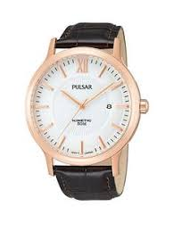pulsar mens watches gifts jewellery littlewoods com pulsar kinetic rose gold brown leather strap mens watch